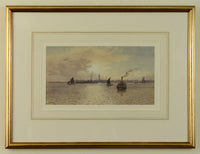 A watercolour by Martin Snape depicting the Gosport shoreline from Portsmouth Harbour