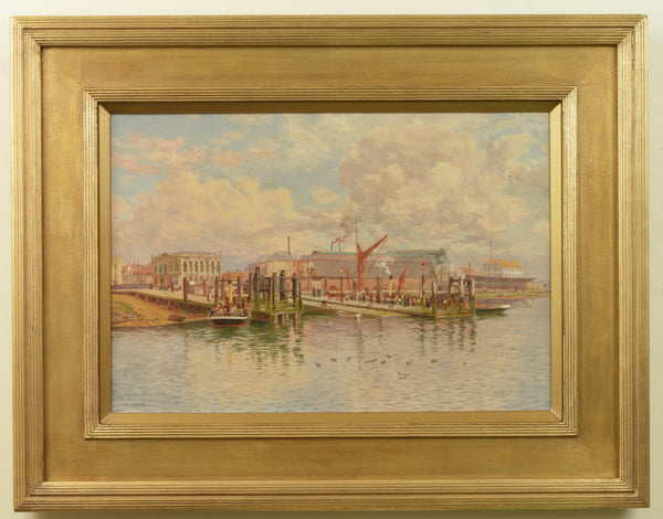 Oil on canvas painting of The Landing Stages, Gosport by Martin Snape