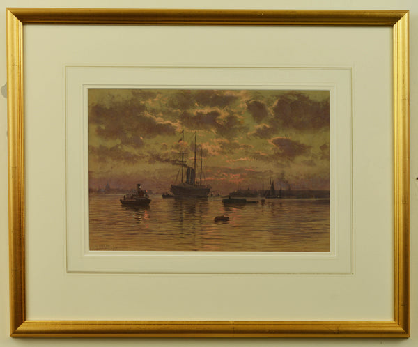 Watercolour of Portsmouth Harbour by Martin Snape