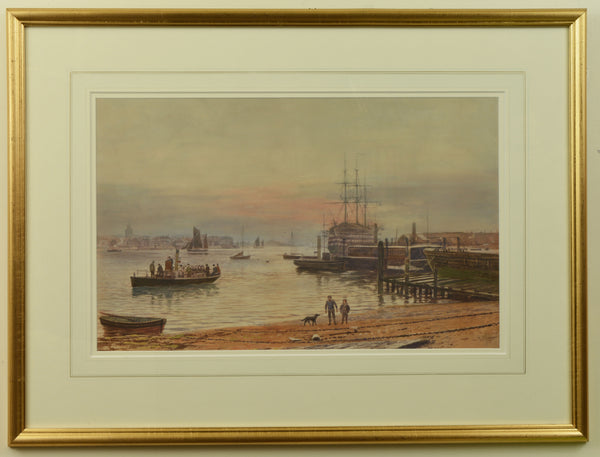Watercolour of Portsmouth Harbour with the Gosport Ferry by Martin Snape