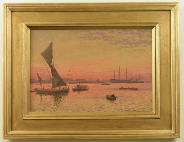 Oil Painting of Portsmouth Harbour under a red sky by Martin Snape