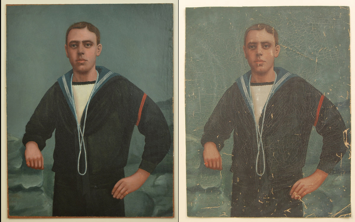 A painting of a young sailor showing the condition both before and after restoration