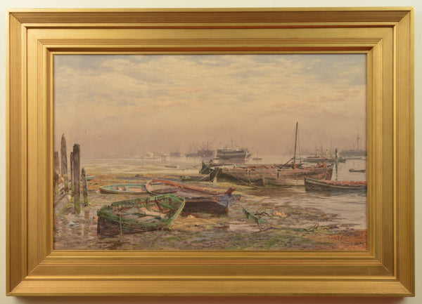 Watercolour of Hulks in Portsmouth Harbour by Martin Snape