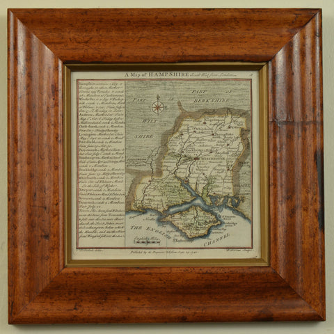Map of Hampshire, contained in an Antique Maple Frame