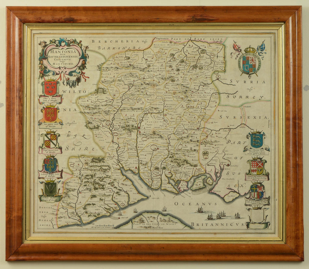 Antique Map of Hampshire by Blaeu, published c.1645