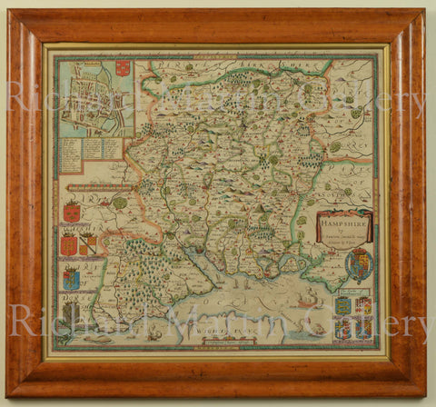 Antique Map of Hampshire by Christopher Saxton and Philip Lea