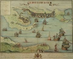 Antique Map of Portsmouth and Gosport from the Reign of Queen Anne