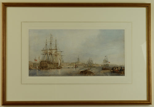 Watercolour of Portsmouth Harbour from Gosport by Edward Duncan