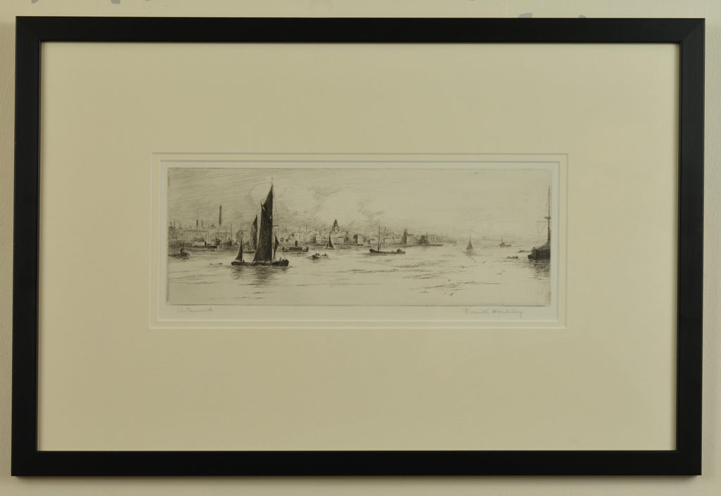 Signed 1920s Etching of Portsmouth Harbour