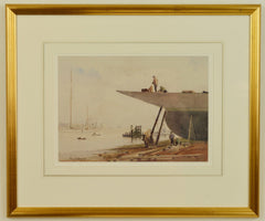 Watercolour of Portsmouth Harbour by George Henry Downing