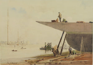 Portsmouth Harbour - Watercolour by George Henry Downing RBA (1878-1940)
