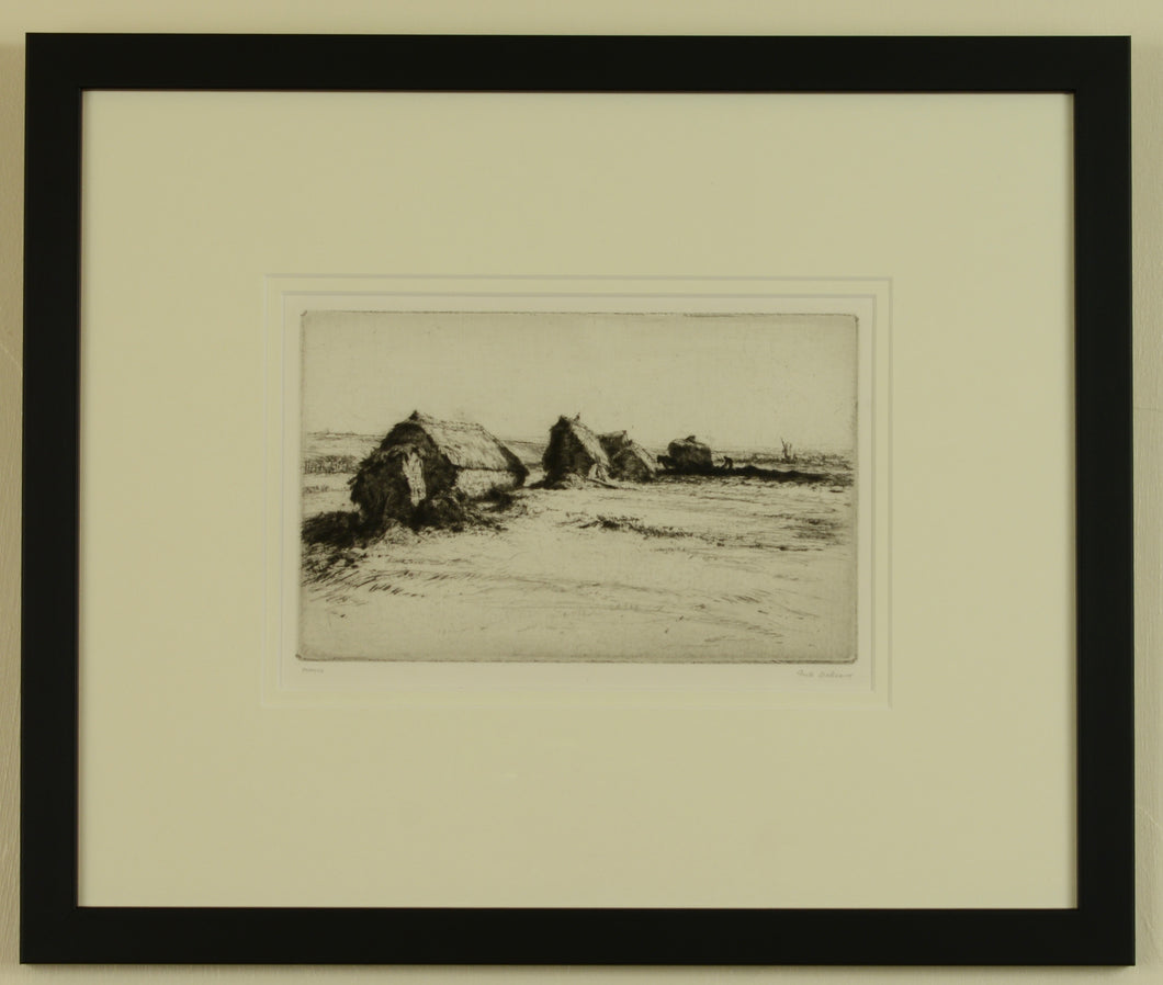 Signed etching of Hayricks by Greta Delleaney