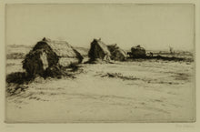Load image into Gallery viewer, Signed etching of Hayricks by Greta Delleaney