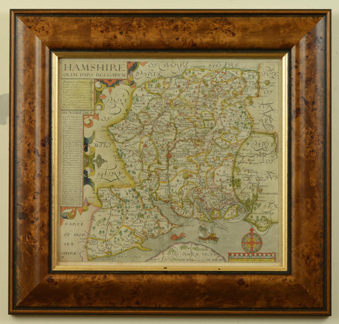 Rare Antique Map of Hampshire by John Norden, published 1595