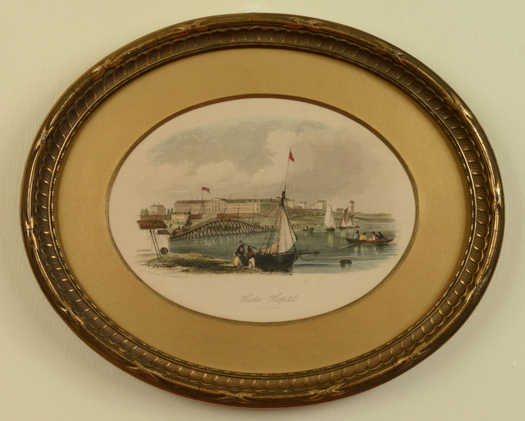 Engraved view of Haslar Hospital, Gosport, by J. & F. Harwood