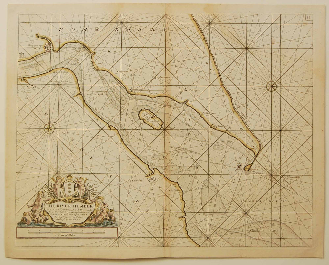 Antique Chart of Hull and Grimsby by Greenvile Collins