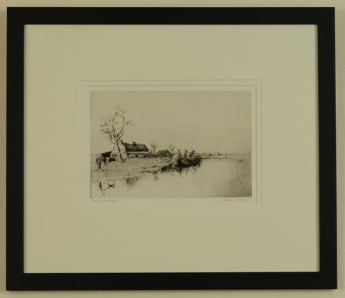 Etching by Jackson Simpson titled Somme Hayboat