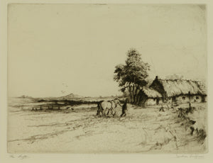 Etching by Jackson Simpson titled The Croft