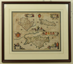 Antique Map of the Isle Wight, Isle of Man and Anglesey by Jan Jansson