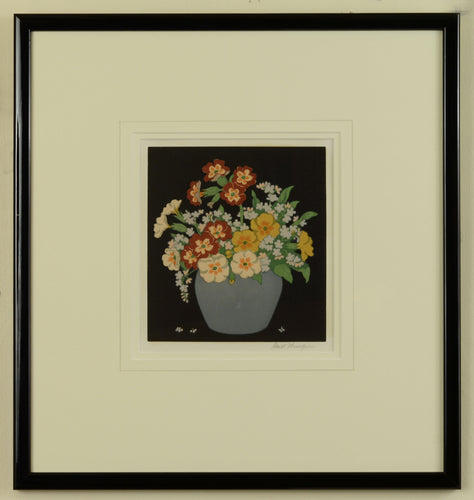Woodcut of Primulas and Forget-Me-Nots by Hall Thorpe