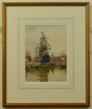 Load image into Gallery viewer, Watercolour of Victory in Dry Dock by Rowland Langmaid, 1954