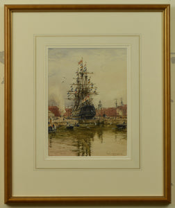Watercolour of Victory in Dry Dock by Rowland Langmaid, 1954