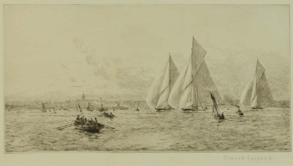 Etching by Rowland Langmaid (1897-1956) - Racing Yachts Shamrock, Britannia & Candida off Ryde