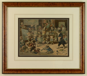 Dogs misbehaving in a school room - chromolithograph by Louis Wain