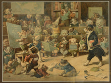 Load image into Gallery viewer, Dogs misbehaving in a school room - chromolithograph by Louis Wain