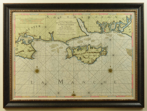 Fine Engraved Chart of The Solent and Isle of Wight, dated 1693