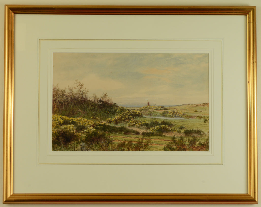 Watercolour of Elmore Lake, Lee-on-the-Solent by Martin Snape