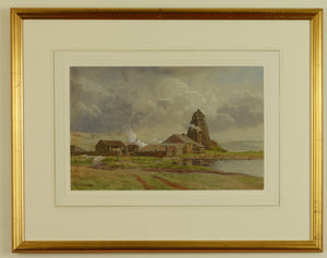 Watercolour of Wicor Mill, Portchester by Martin Snape