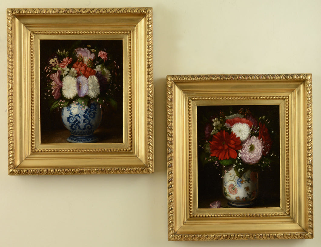 A pair of still lifes of mixed flowers in vases, c.1870s