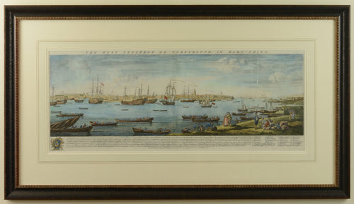 18th Century Engraved View of Portsmouth Harbour by Buck