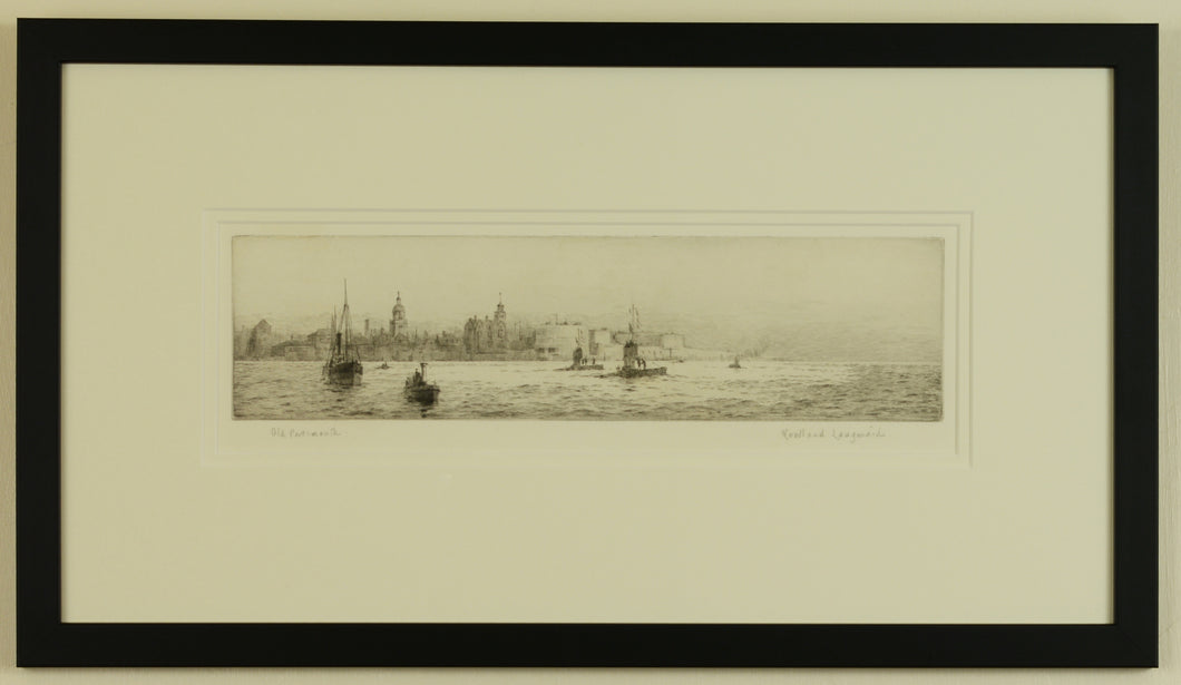 Signed etching of Old Portsmouth and early submarines by Roland Langmaid