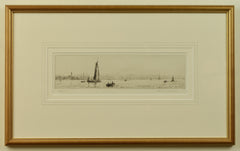 Signed early 20th century etching of Gosport by Rowland Langmaid