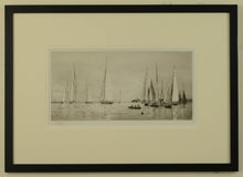 Load image into Gallery viewer, An evocative scene of 12 and 8 metre racing yachts in light airs off Cowes