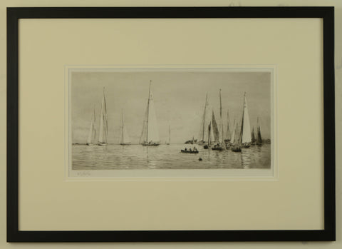 Before the Start - signed etching by W.L. Wyllie