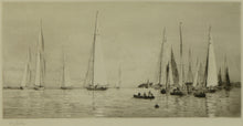 Load image into Gallery viewer, A scene of 8 and 12 metre racing yachts off Cowes, Isle of Wight