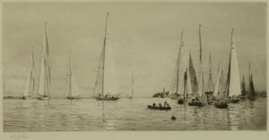 A scene of 8 and 12 metre racing yachts off Cowes, Isle of Wight