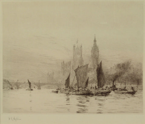 Signed Etching by W.L. Wyllie RA - Barges on the Thames before Westminster