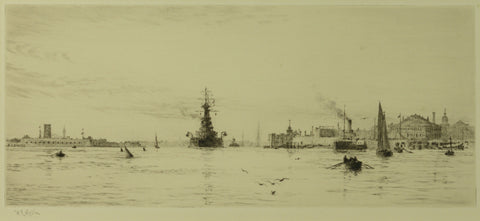 Signed Etching by William Lionel Wyllie (1851-1931) - HMS Revenge leaving Portsmouth Harbour, c.1925
