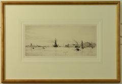 HMS Revenge leaving Portsmouth Harbour - signed etching by W.L. Wyllie