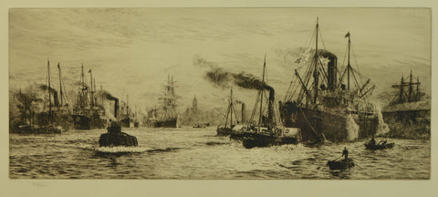 Signed Etching by William Lionel Wyllie (1851-1931) - The Clyde at Govan