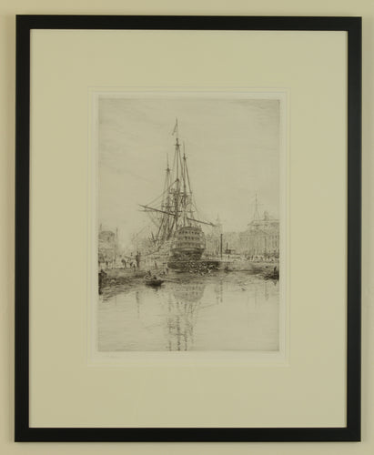 Crossing the Mainyard - signed etching by W.L. Wyllie