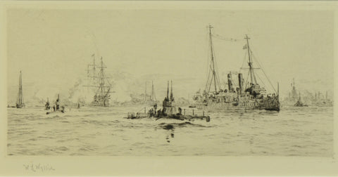 Signed Etching by W.L. Wyllie RA - Early Submarines in Portsmouth Harbour