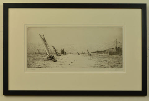 Signed etching of The Solent with Fort Blockhouse by W.L. Wyllie