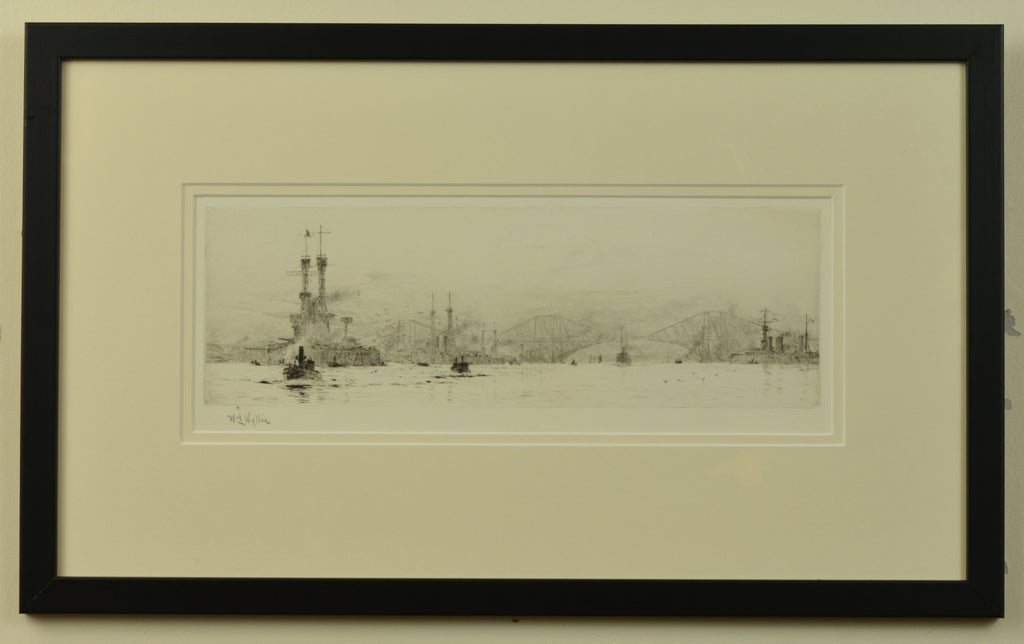 Signed etching of Naval Shipping near the Forth Bridge by W.L. Wyllie