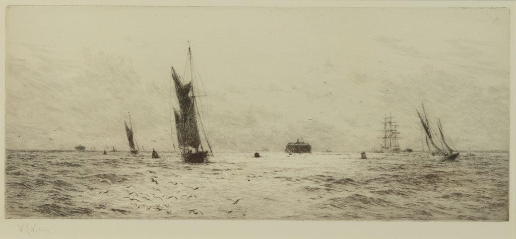 Signed Etching by W.L. Wyllie RA (1851-1931) - The Fairway into Portsmouth
