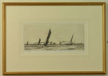Load image into Gallery viewer, An etching by W.L. Wyllie of fishing boats returning to Portsmouth Harbour